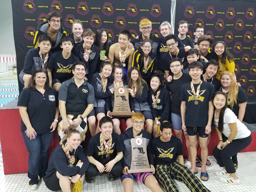 2019 swimming and diving state championship team photo