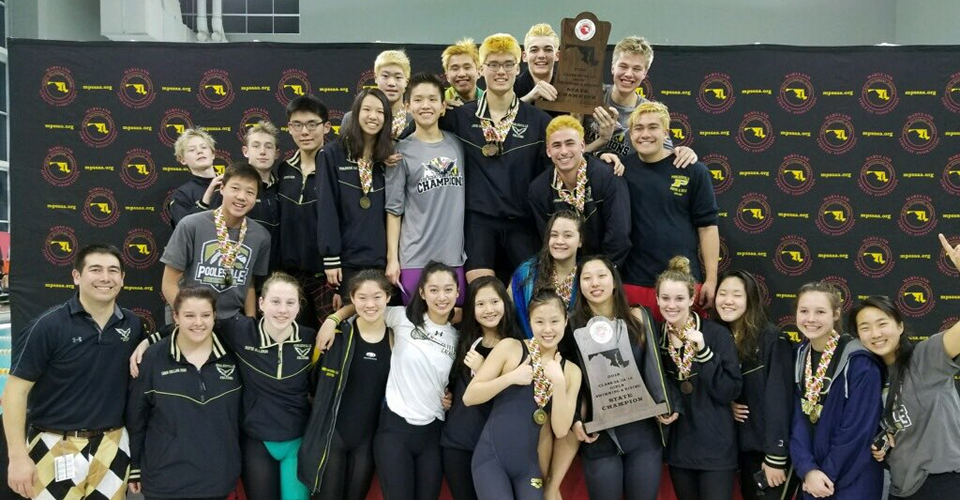 boys and girls swimming and diving, 2018 state champions